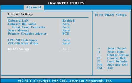 BIOS SETUP UTILITY Advanced Chipset Settings To set DRAM Voltage. Onboard LAN Onboard HD Audio