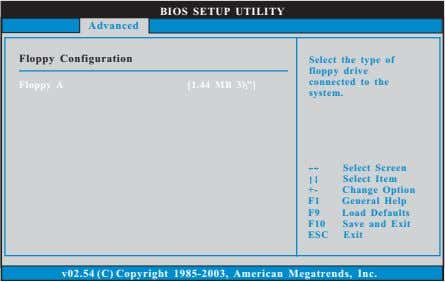 "BIOS SETUP UTILITY Advanced Floppy Configuration Floppy A [1.44 MB 3 ""] 1 2 Select"