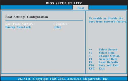 BIOS SETUP UTILITY Boot Boot Settings Configuration To enable or disable the boot from network