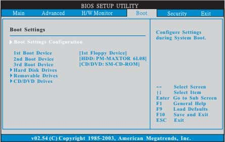 BIOS SETUP UTILITY Main Advanced H/W Monitor Boot Security Exit Boot Settings Configure Settings during