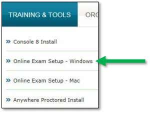 & Tools tab and click Online Exam Setup - Windows . Blank Creating the Desktop Shortcut