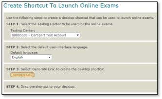 Exams button which will open another window on a new tab: Follow the steps on this