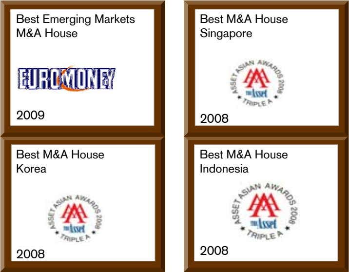Best Emerging Markets M&A House Best M&A House Singapore 2009 2008 Best M&A House Korea
