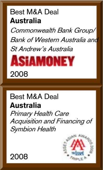 Best M&A Deal Australia Commonwealth Bank Group/ Bank of Western Australia and St Andrewís Australia
