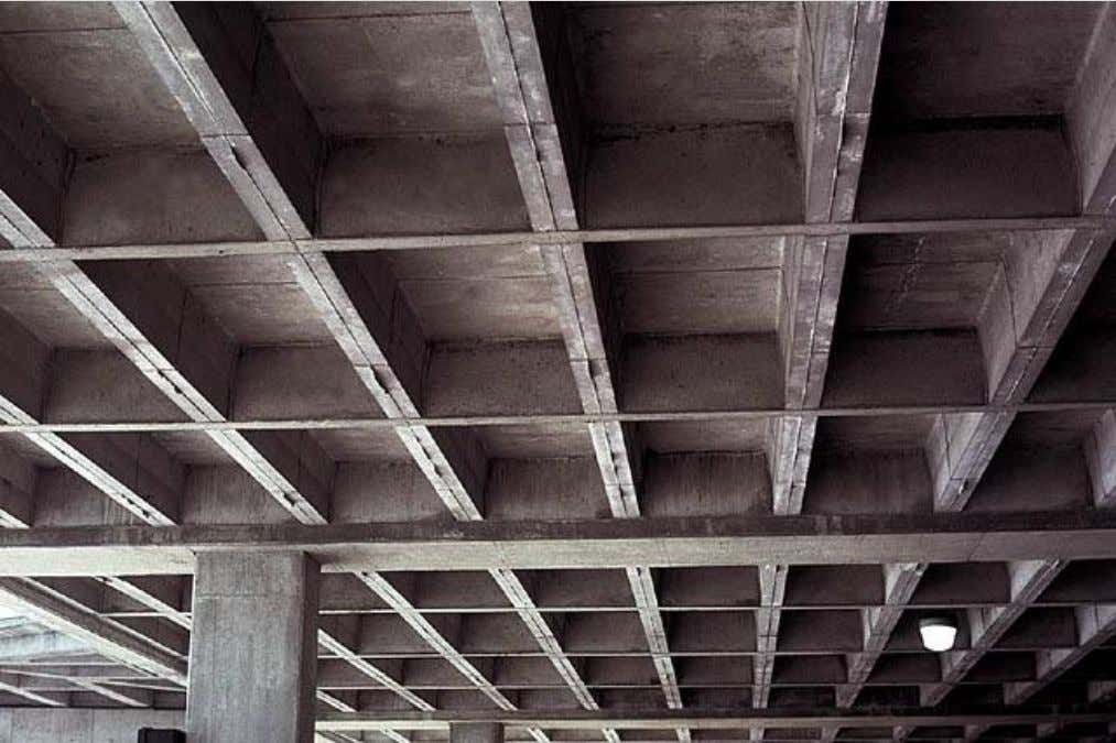 Losas Planas - Introducción Typical one-way beam grid and slab system. This parking structure has columns