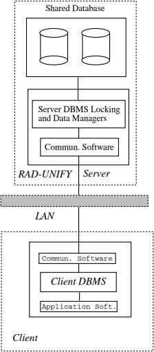 Shared Database Server DBMS Locking and Data Managers Commun. Software RAD-UNIFY Server LAN Commun. Software