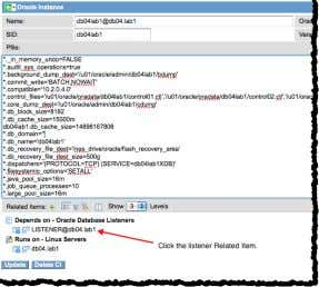 Click the link to the listener in the Oracle Instance form. The new Oracle Listener form