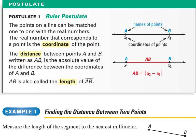 POSTULATE POSTULATE 1 Ruler Postulate The points on a line can be matched names of