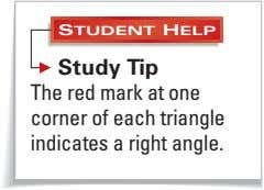 STUDENT HELP Study Tip The red mark at one corner of each triangle indicates a