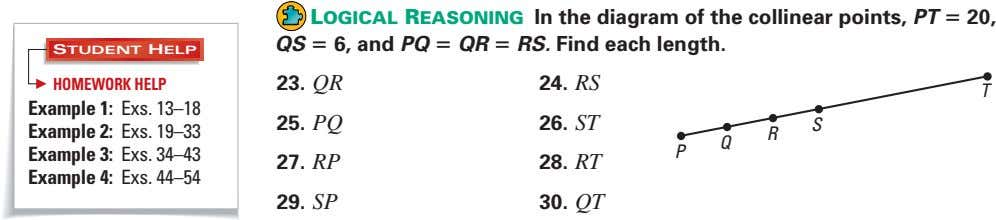 LOGICAL REASONING In the diagram of the collinear points, PT = 20, QS = 6,