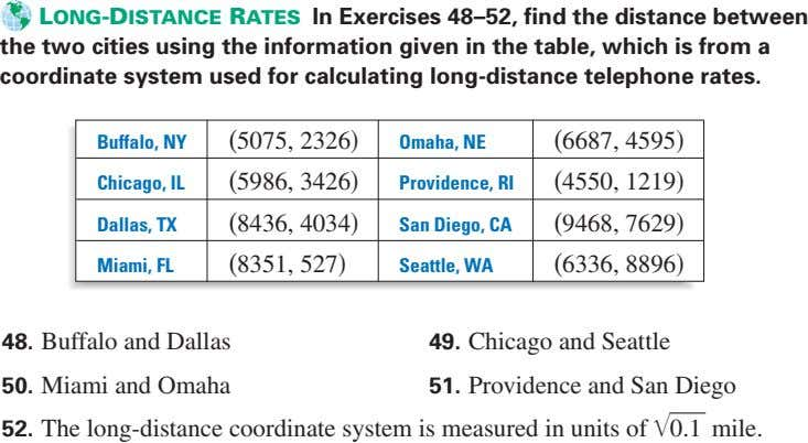 LONG-DISTANCE RATES In Exercises 48–52, find the distance between the two cities using the information