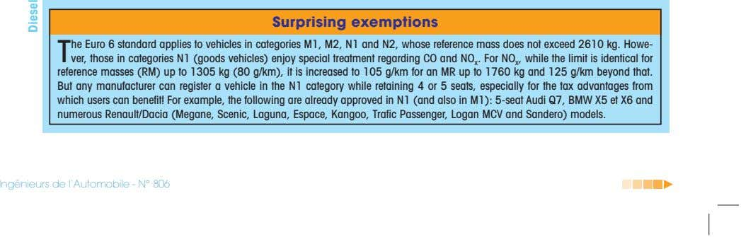 Surprising exemptions T he Euro 6 standard applies to vehicles in categories M1, M2, N1