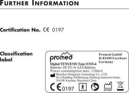 FURTHER INFORMATION Certification No. 0197 Classification label