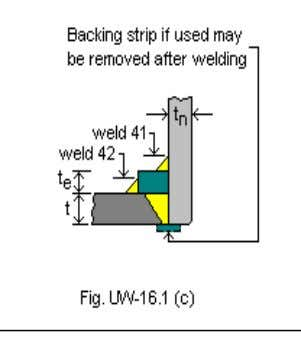 Nozzle Detail Information Upper Weld Leg Size(Weld 41): 0.1875 in. Nozzle Wall Thickness(t n ):