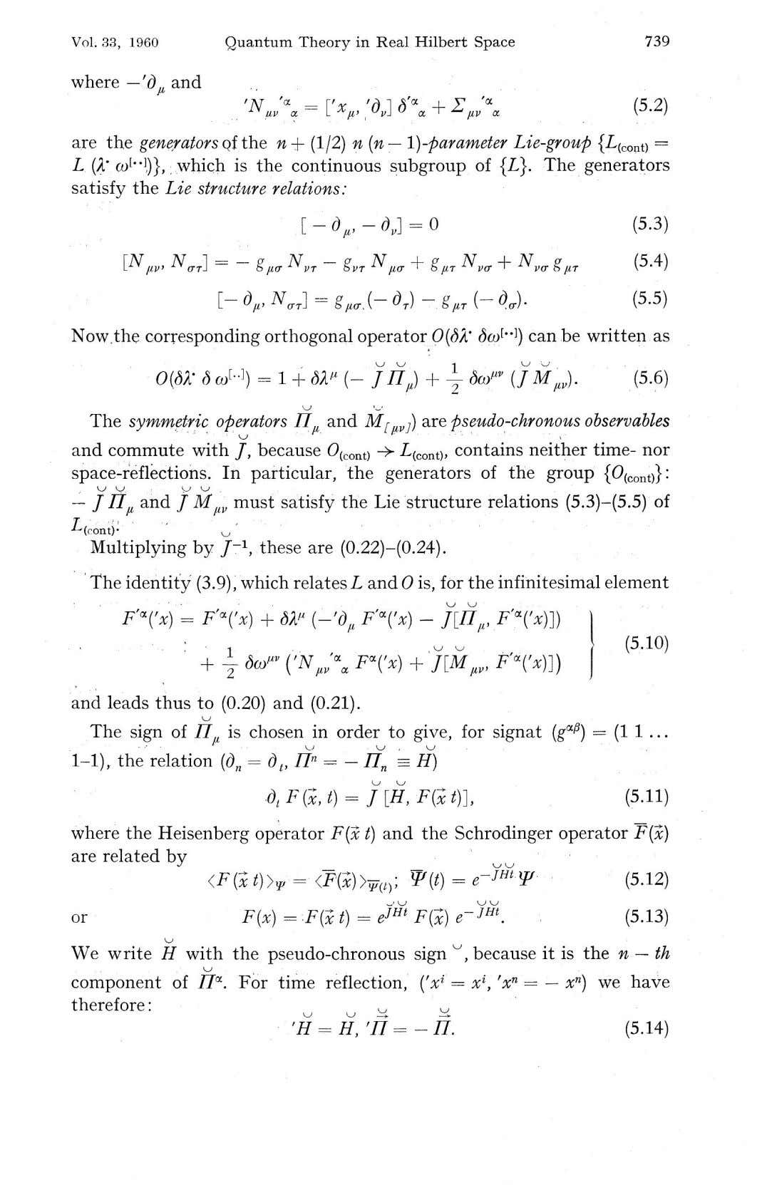 "Vol. 33, 1960 Quantum Theory in Real Hilbert Space 739 where — 'd"" and JA,"
