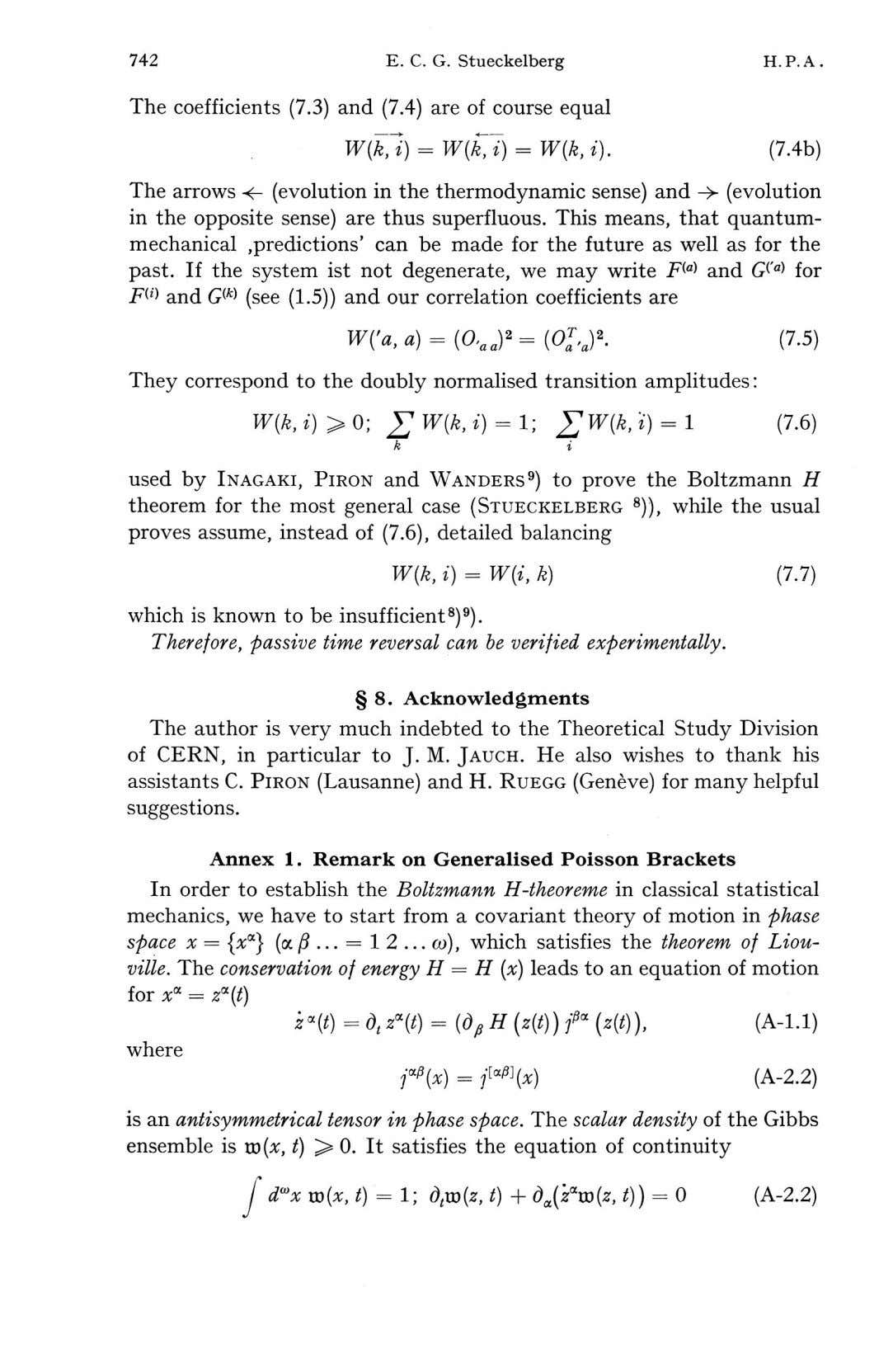 742 E. C. G. Stueckelberg H. P. A The coefficients (7.3) and (7.4) are of