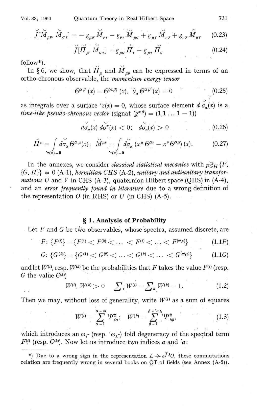 Vol. 33, 1960 Quantum Theory in Real Hilbert Space 731 XV MaT\ (0.23) - g/OT
