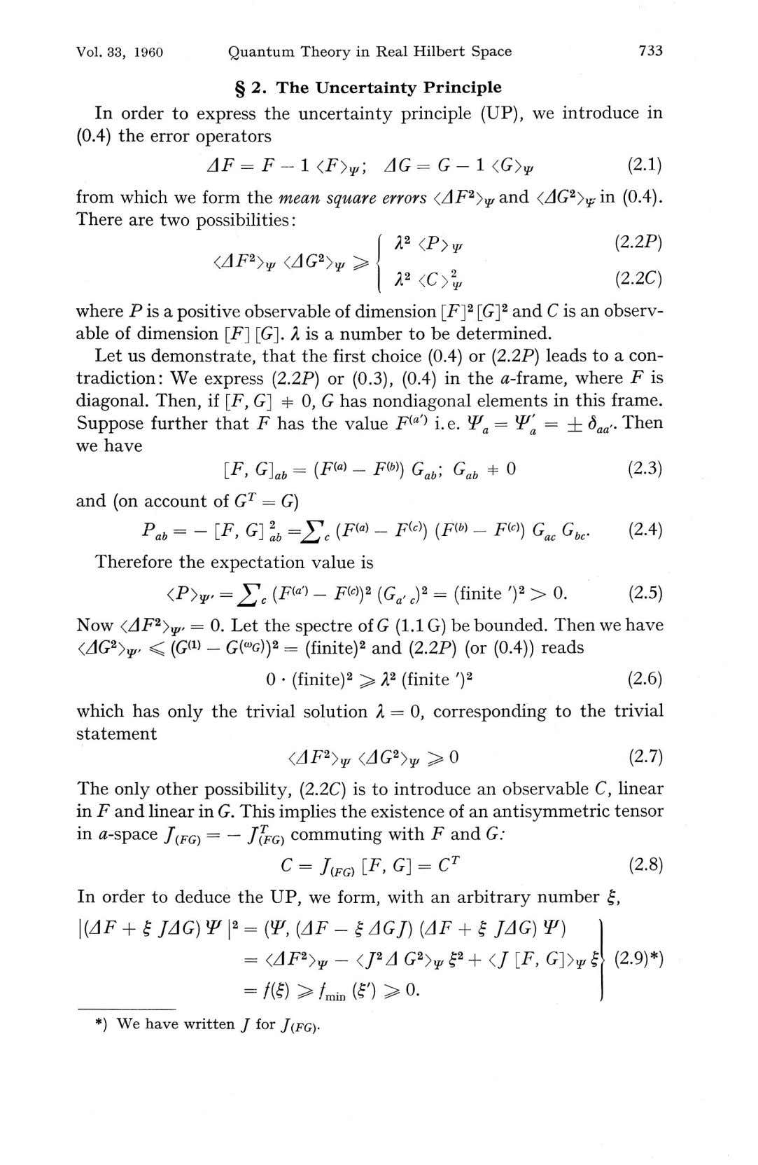 Vol. 33, 1960 Quantum Theory in Real Hilbert Space 733 § 2. The Uncertainty Principle
