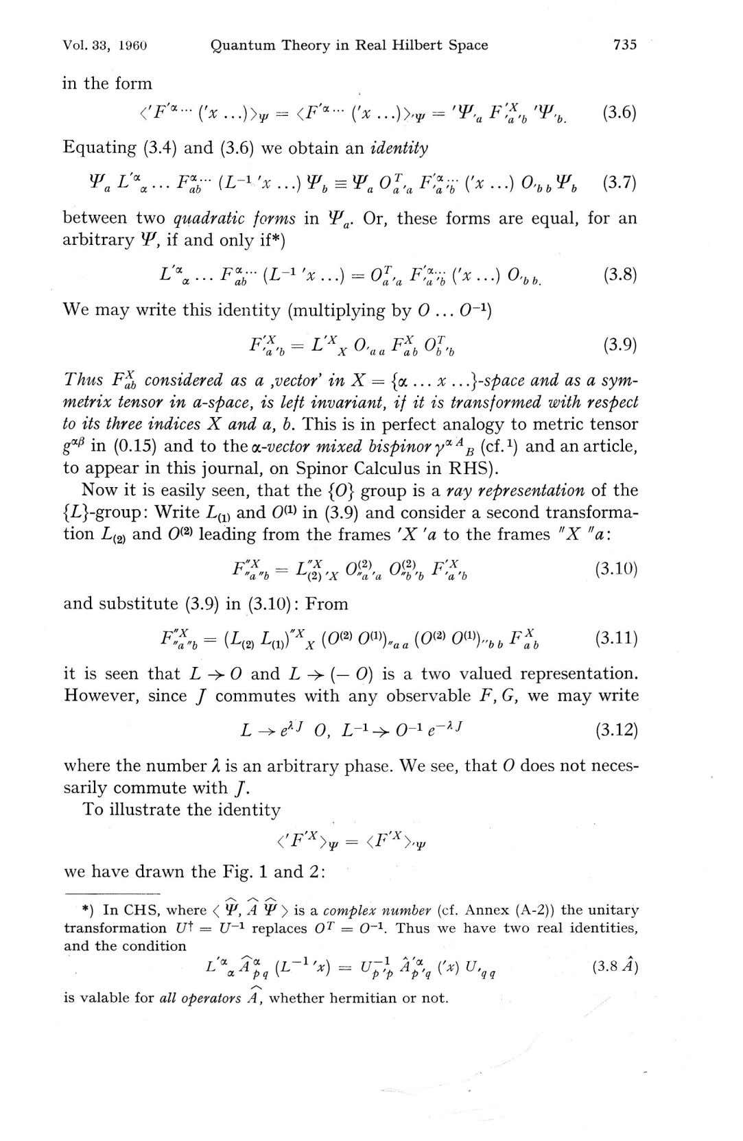 Vol. 33, 1960 Quantum Theory in Real Hilbert Space 735 in the form <'F'*- ('*