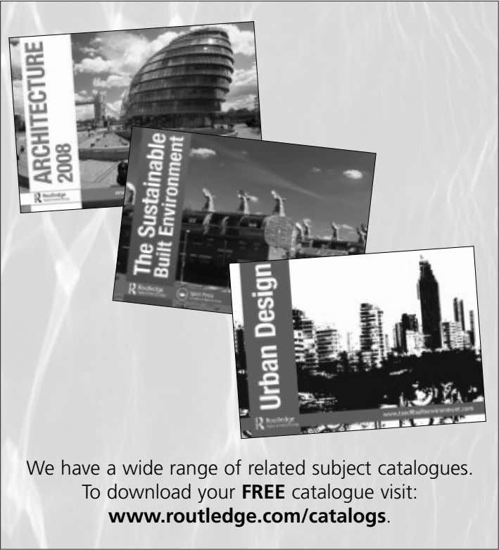 We have a wide range of related subject catalogues. To download your FREE catalogue visit: