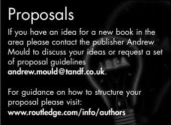 Proposals If you have an idea for a new book in the area please contact