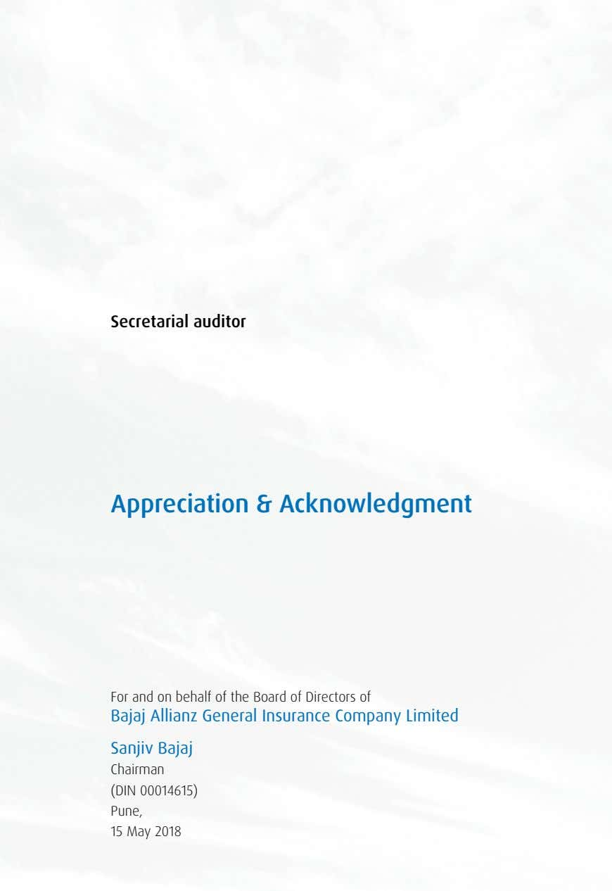Secretarial auditor Appreciation & Acknowledgment For and on behalf of the Board of Directors of