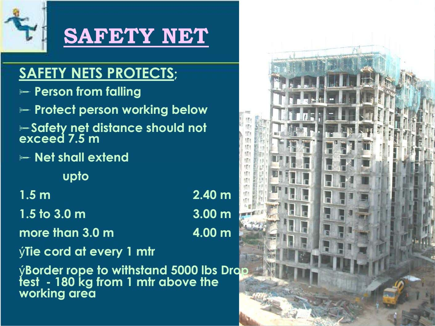 SAFETY NET SAFETY NETS PROTECTS; Person from falling Protect person working below Safety net distance