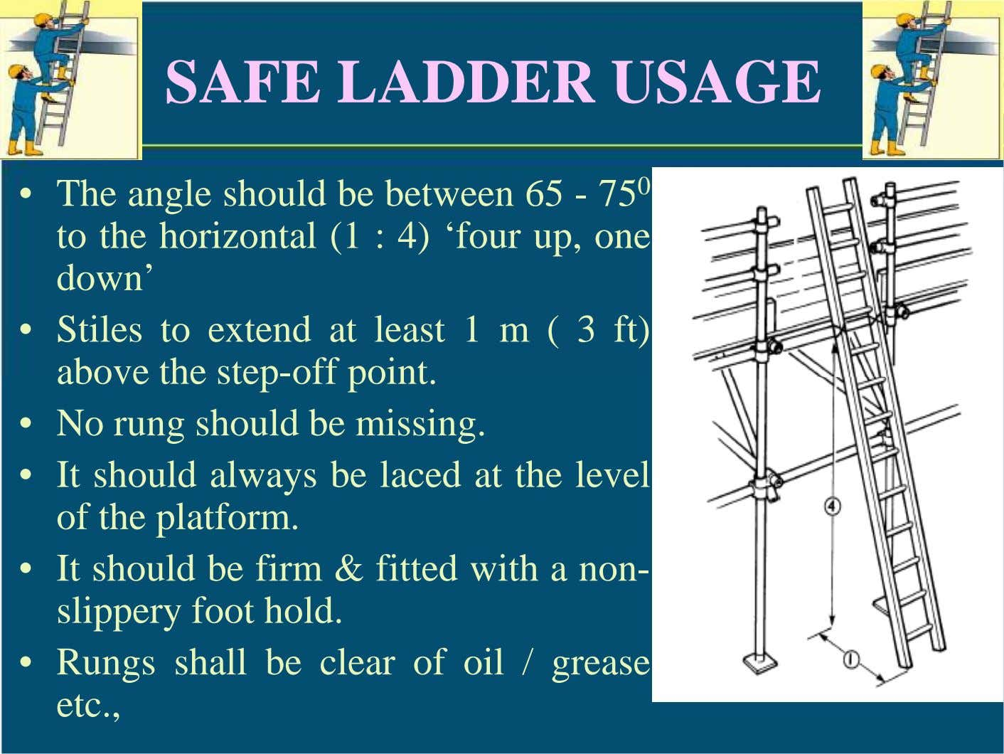 SAFE LADDER USAGE • The angle should be between 65 - 75 0 to the