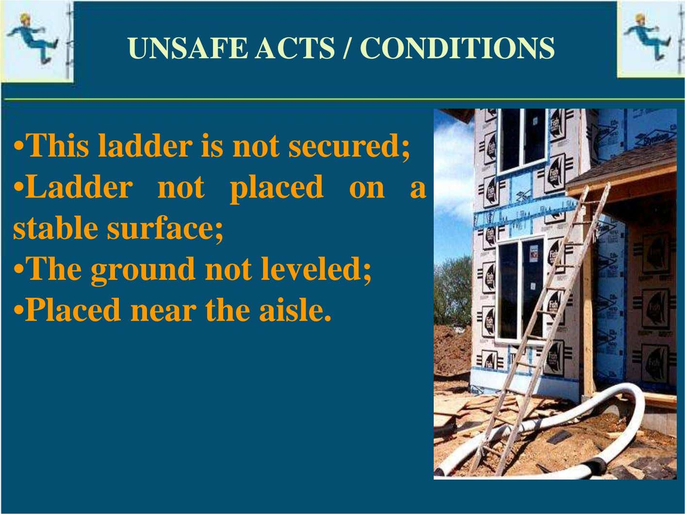 UNSAFE ACTS / CONDITIONS •This ladder is not secured; •Ladder not placed on a stable