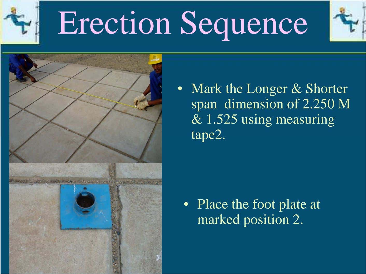 Erection Sequence • Mark the Longer & Shorter span dimension of 2.250 M & 1.525