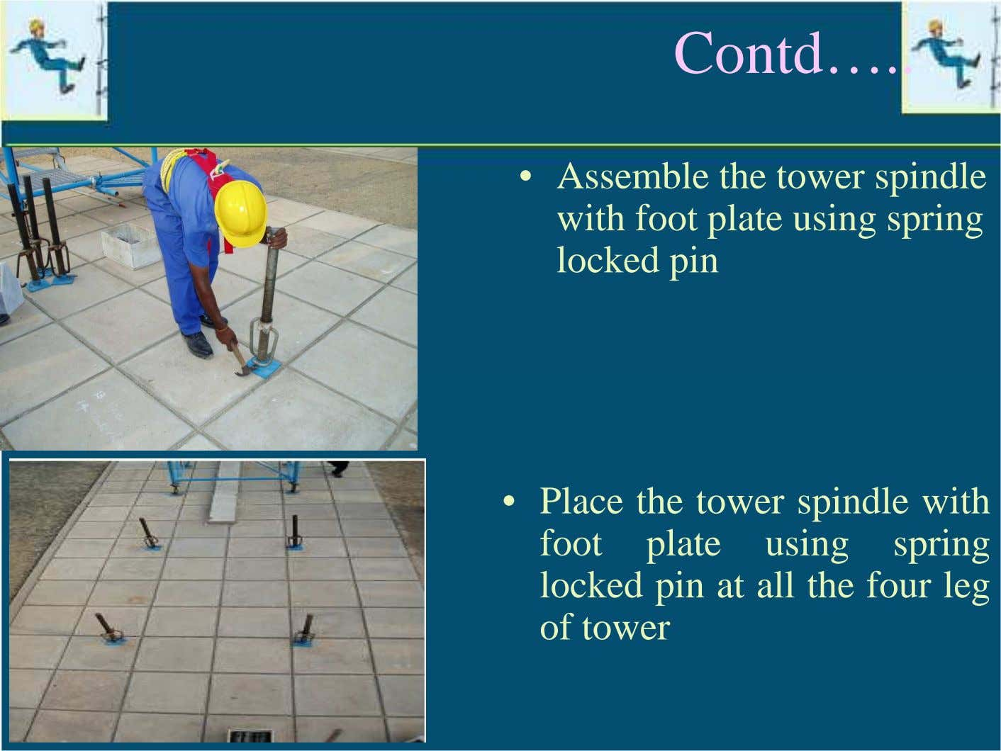 Contd… • Assemble the tower spindle with foot plate using spring locked pin • Place