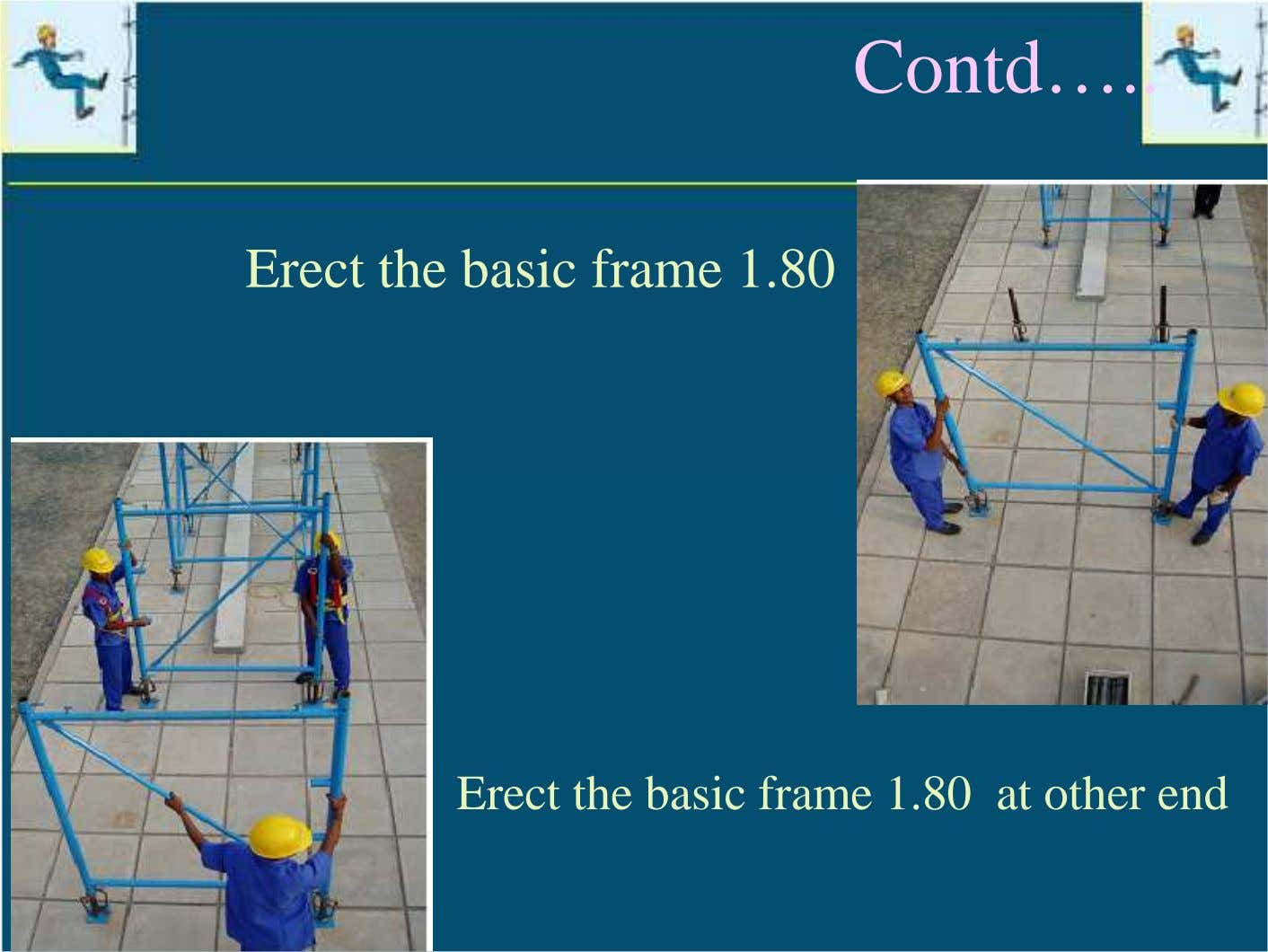Contd… Erect the basic frame 1.80 Erect the basic frame 1.80 at other end