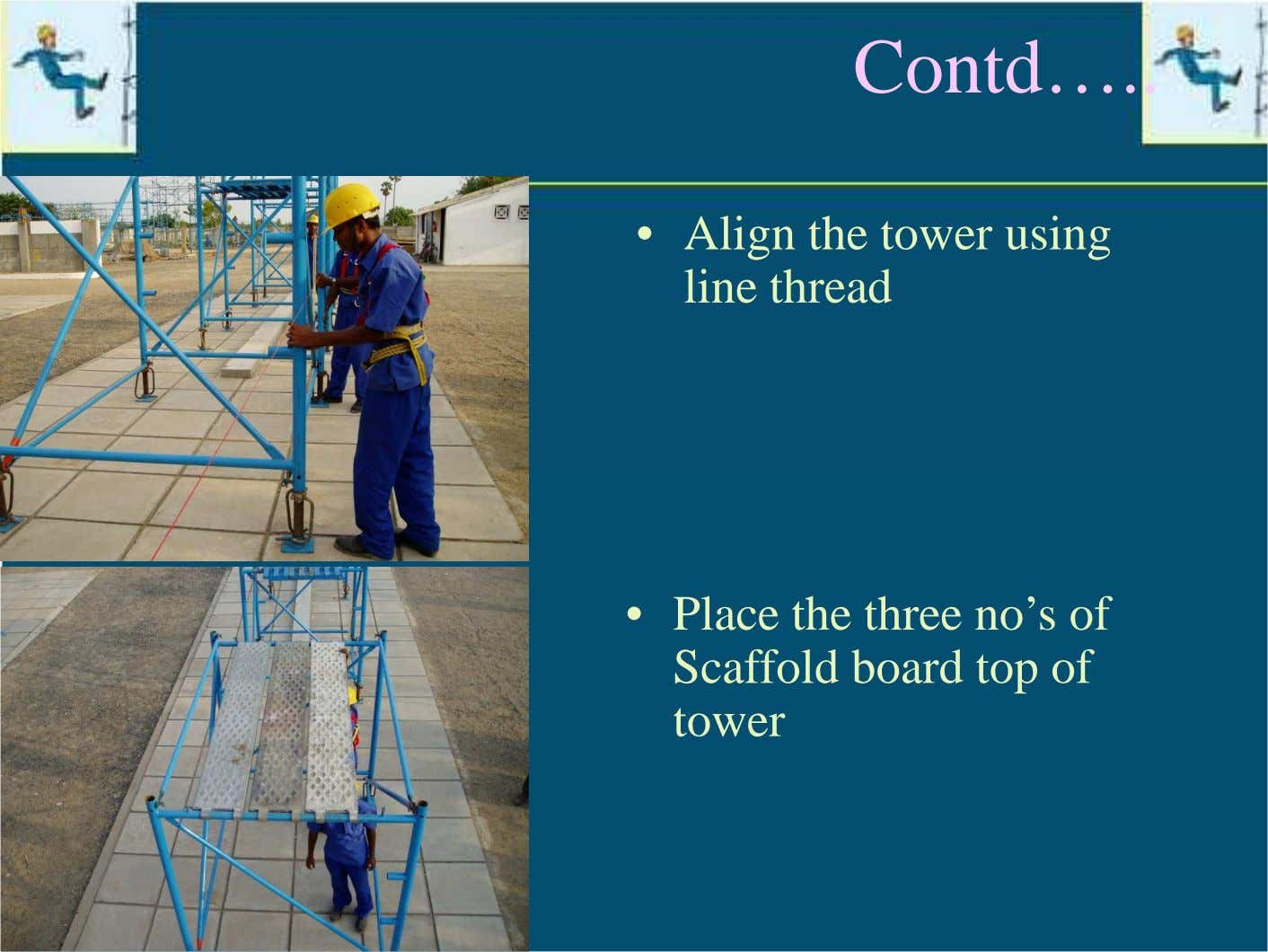 Contd… • Align the tower using line thread • Place the three no's of Scaffold