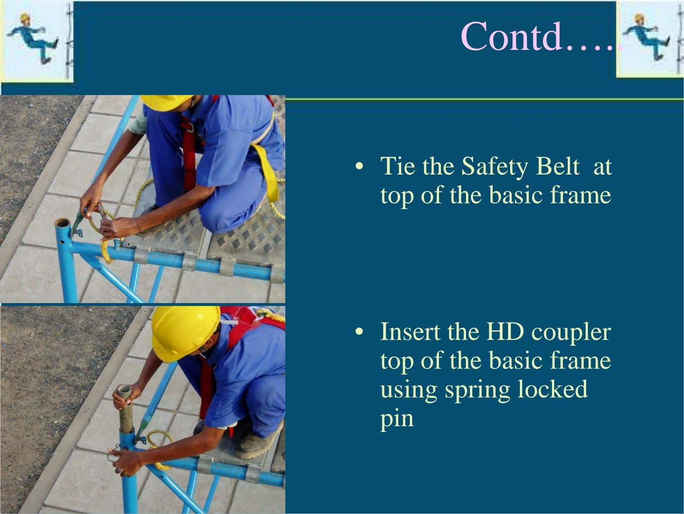Contd… • Tie the Safety Belt at top of the basic frame • Insert the