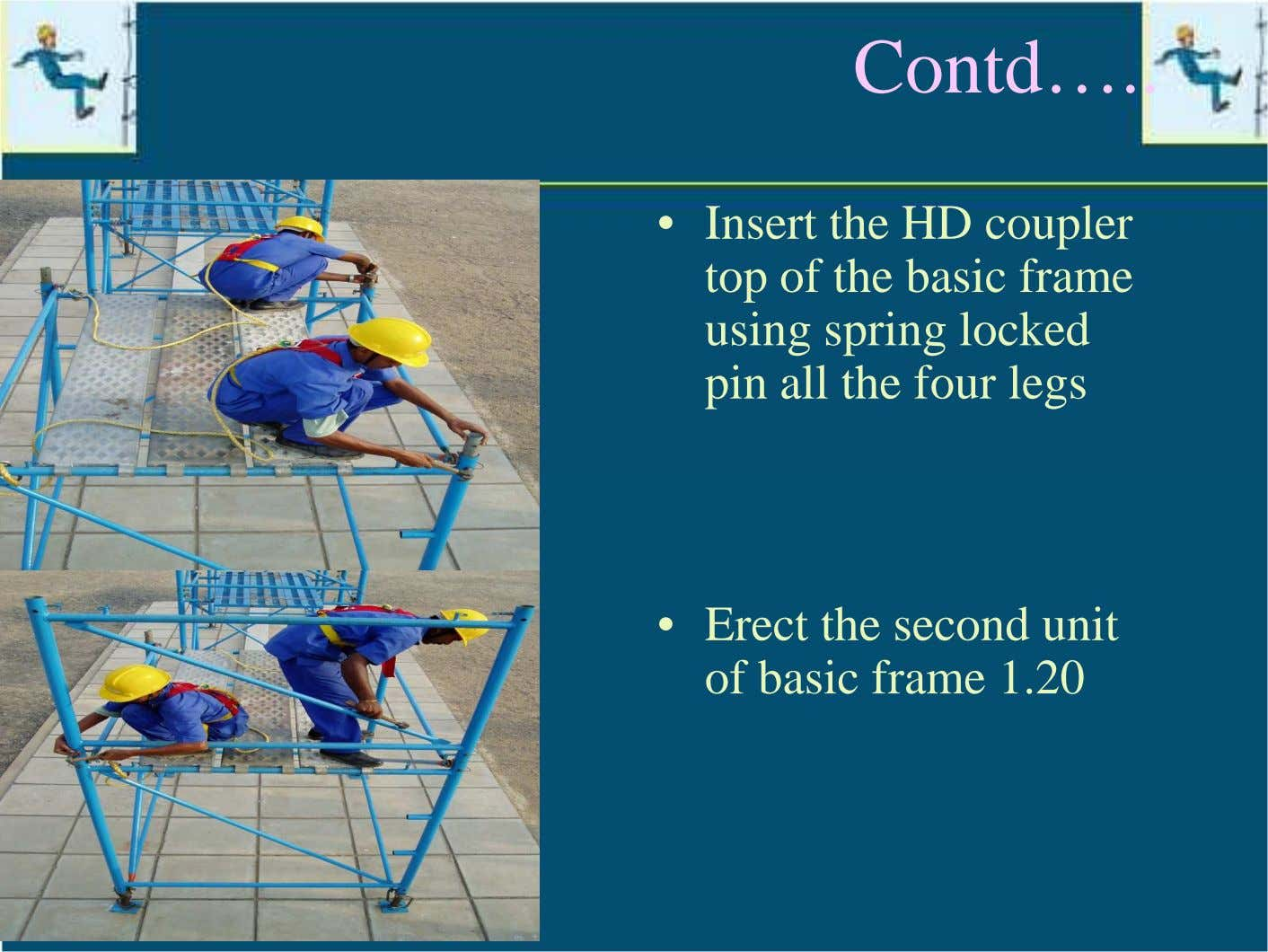 Contd… • Insert the HD coupler top of the basic frame using spring locked pin
