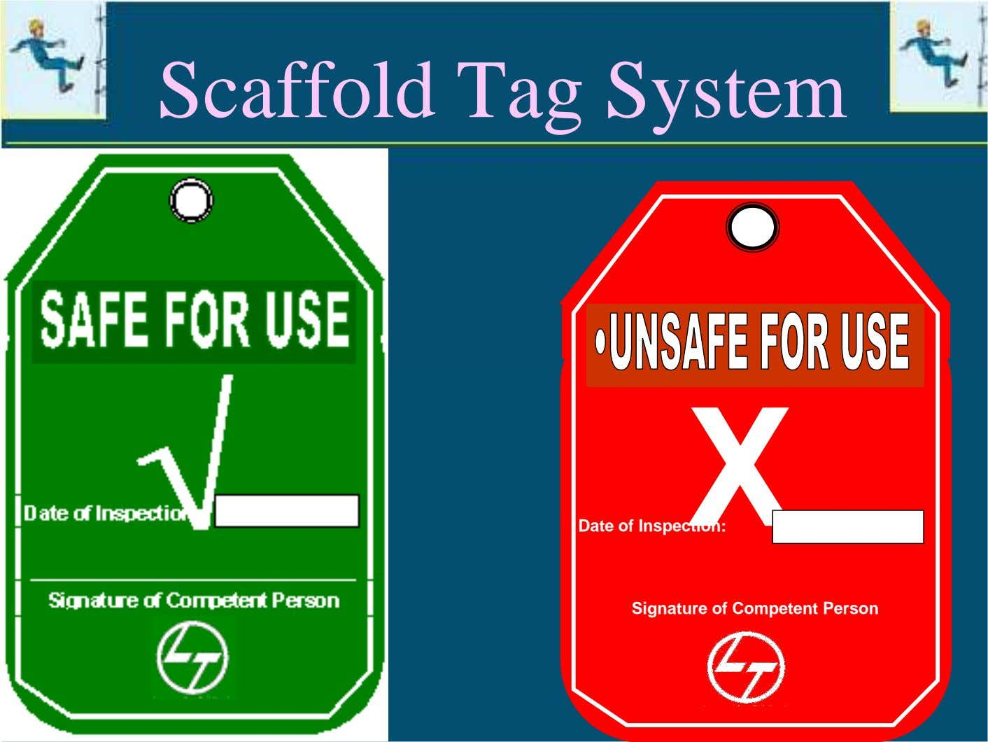 Scaffold Tag System X Date of Inspection: Signature of Competent Person