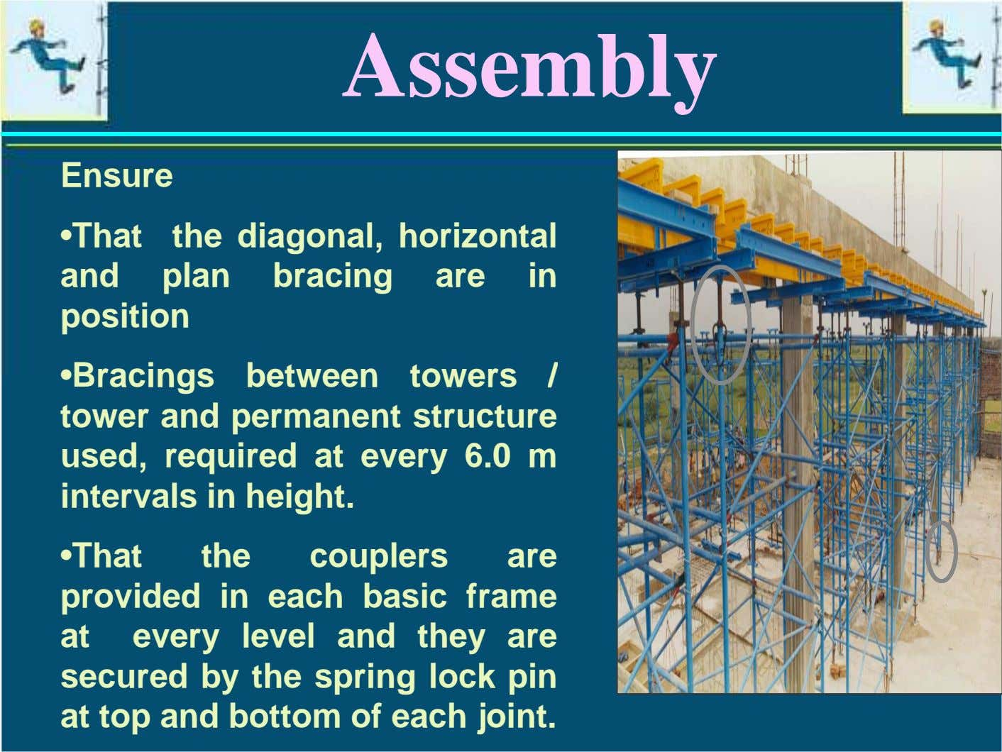Assembly Ensure •That the diagonal, horizontal and plan bracing are position in •Bracings between towers