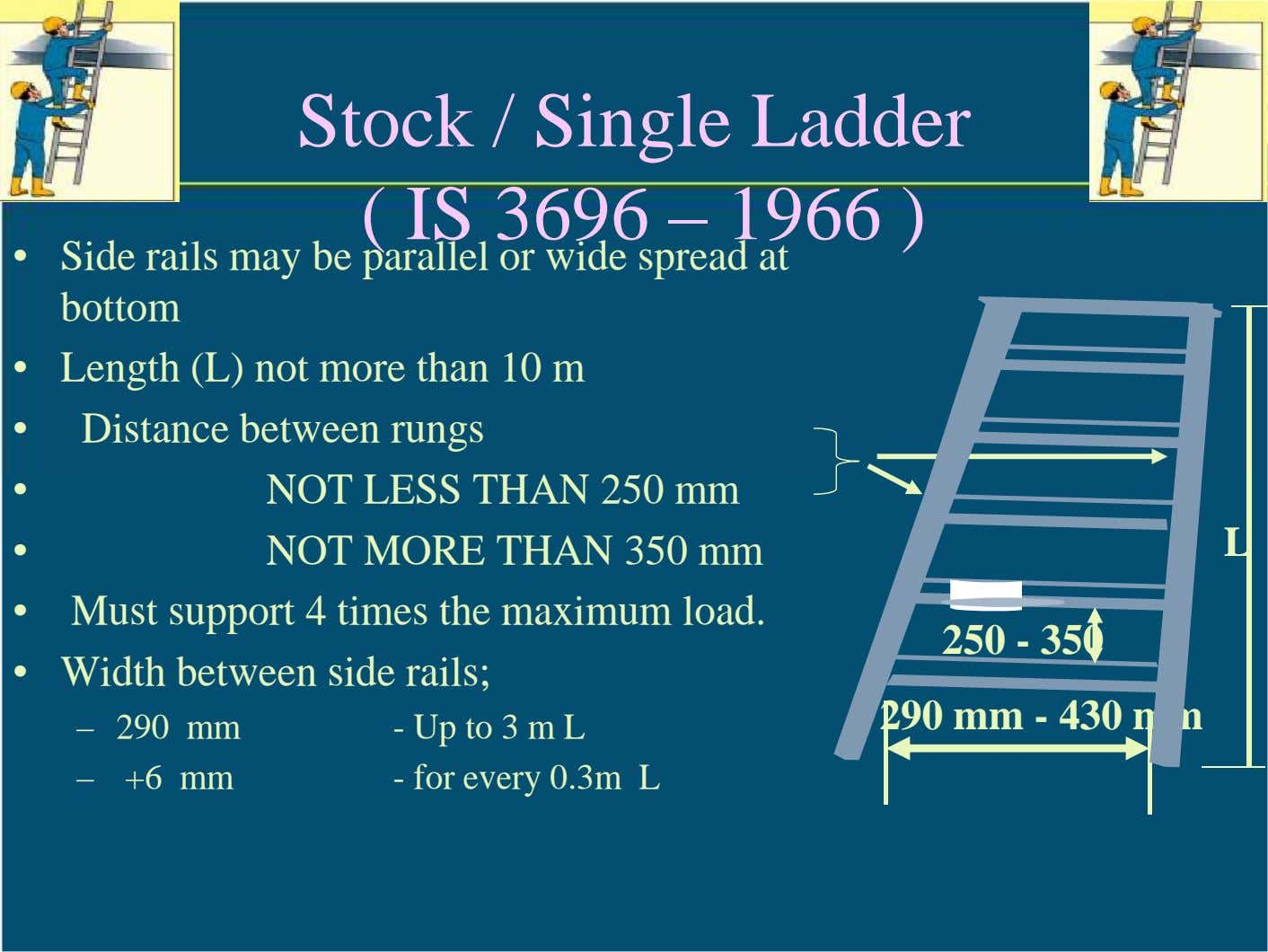 Stock / Single Ladder ( IS 3696 – 1966 ) • Side rails may be