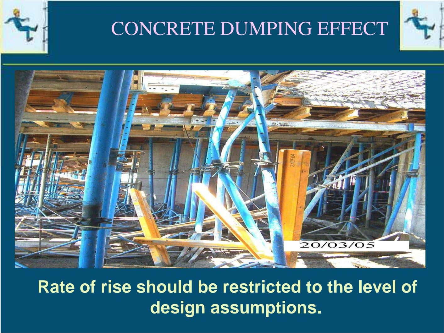 CONCRETE DUMPING EFFECT Rate of rise should be restricted to the level of design assumptions.