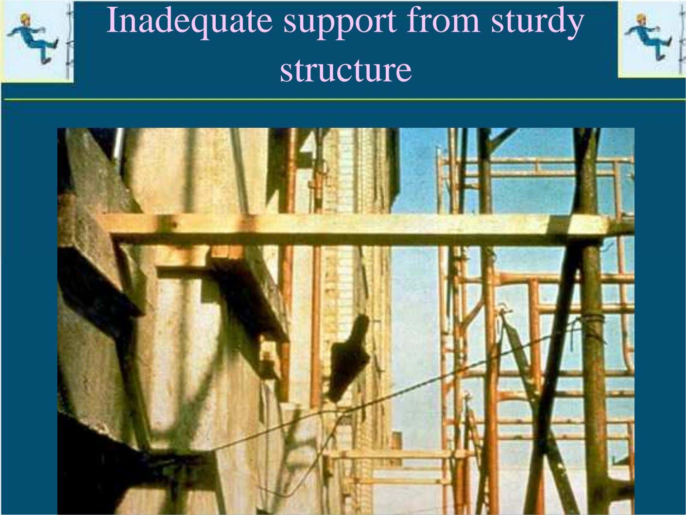 Inadequate support from sturdy structure