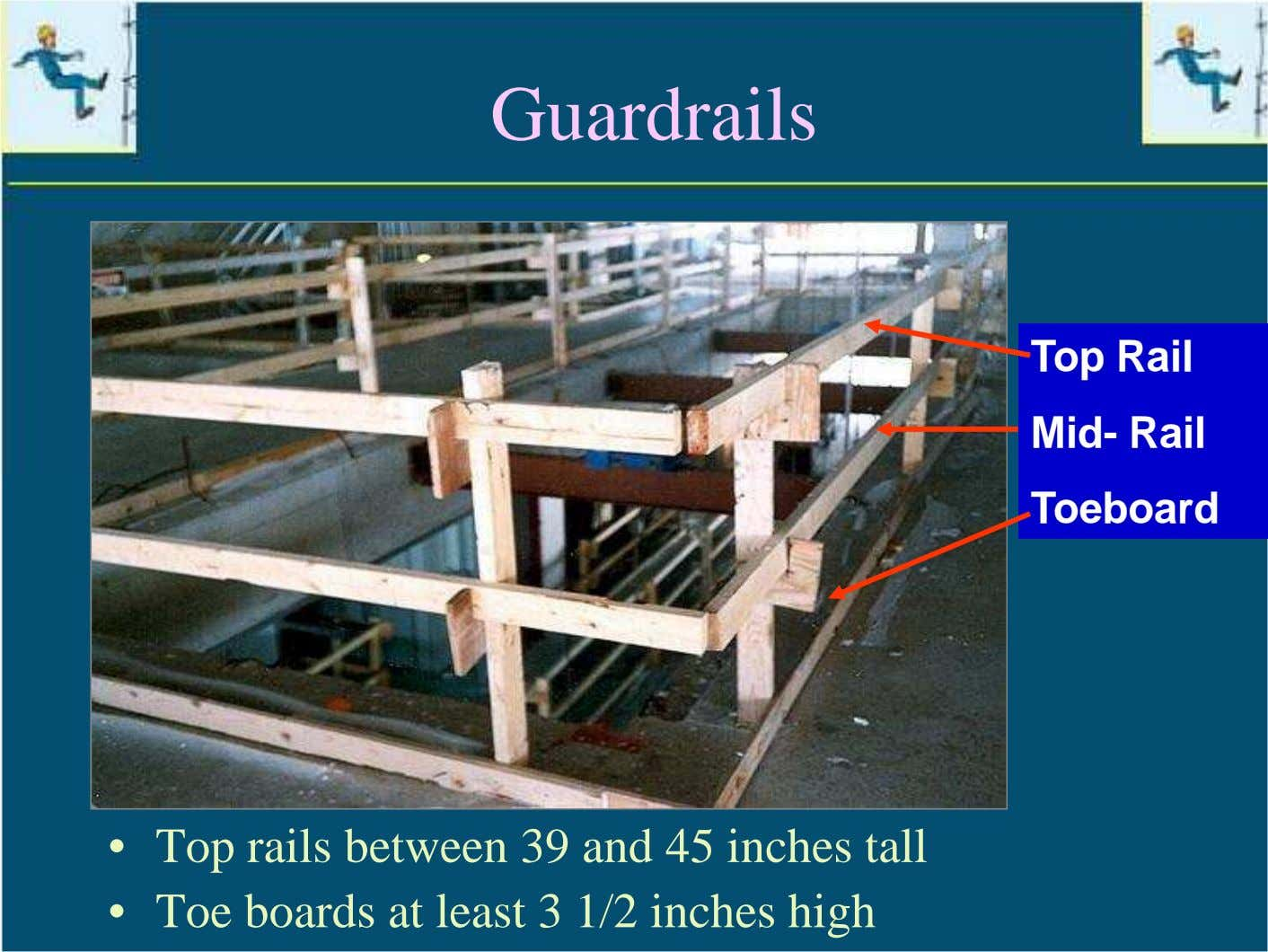 Guardrails Top Rail Mid- Rail Toeboard • Top rails between 39 and 45 inches tall