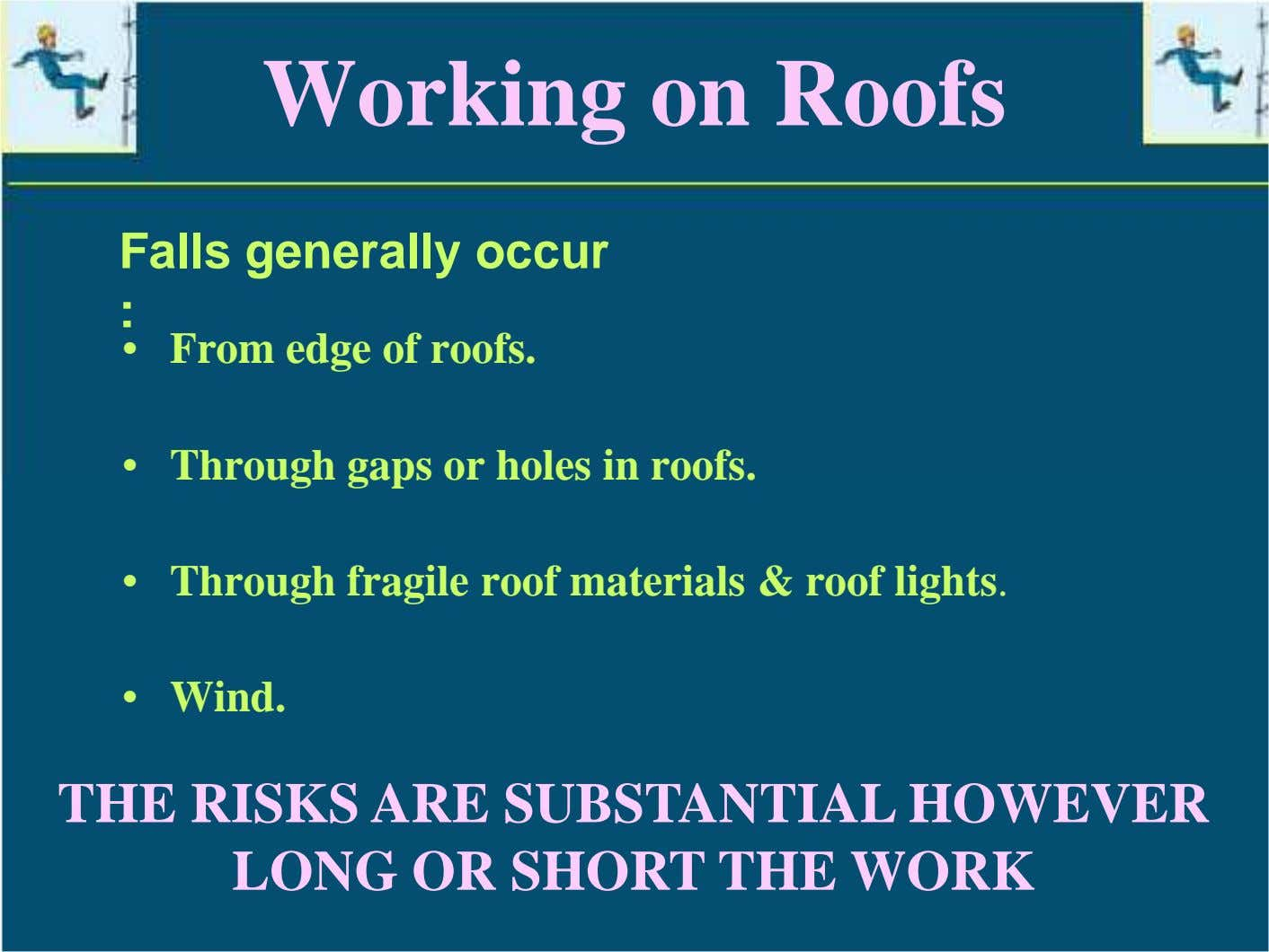 Working on Roofs Falls generally occur : • From edge of roofs. • Through gaps
