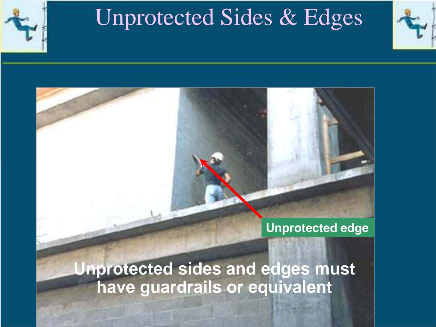 Unprotected Sides & Edges Unprotected edge Unprotected sides and edges must have guardrails or equivalent