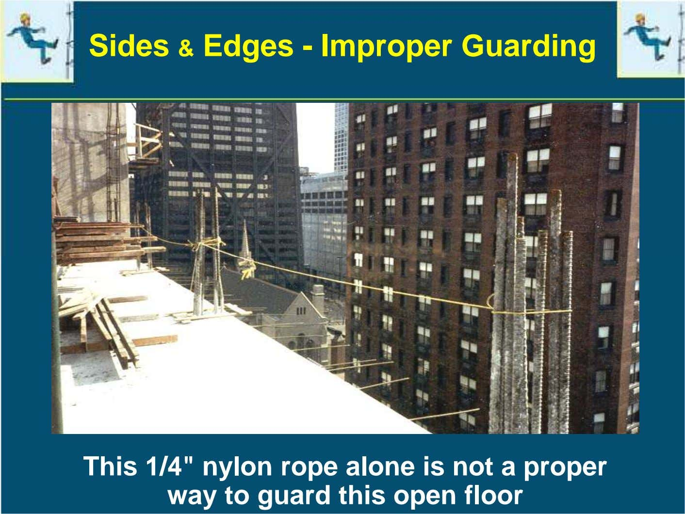 "Sides & Edges - Improper Guarding This 1/4"" nylon rope alone is not a proper"