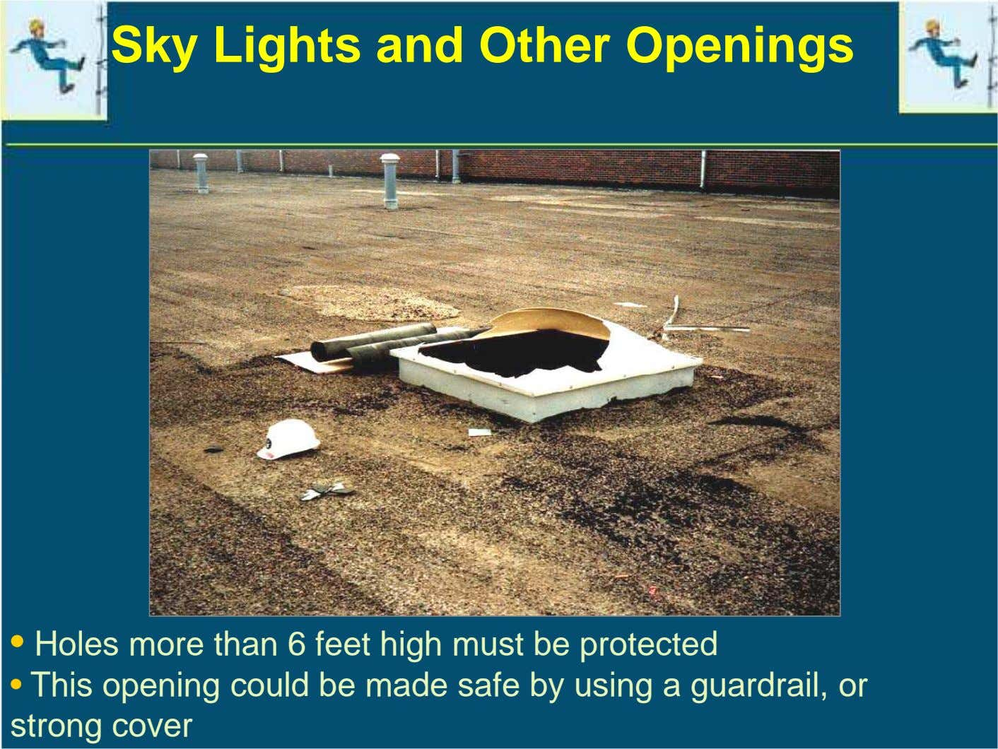 Sky Lights and Other Openings • Holes more than 6 feet high must be protected