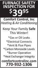FURNACE SAFETY INSPECTION FOR $ 39 95 Comfort Control, Inc Hea ng & Air Condi