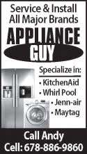 Call Steve 678-270-8108 (cell) 5475 - Appliance Repair 5481 - BBQ Service SEE AD BELOW 5481
