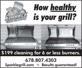 How healthyhealthy is your grill? $199 cleaning for 6 or less burners. 678.807.4303 Sparklegrill.com Results