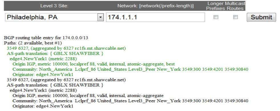AS-PATH: ‒ AS-PATH Translation: GBLX SHAWFIBER 3549 6327 BRKRST-3320 © 2012 Cisco and/or its affiliates. All