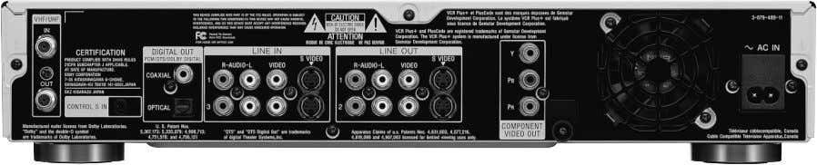 in certain portions. Front panel view Rear panel view Attached remote commander RMT-D203A ● Specifications,